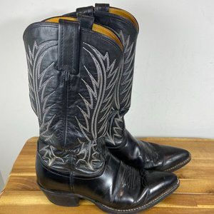 Nocona Black Leather Western Cowgirl Boot Women's